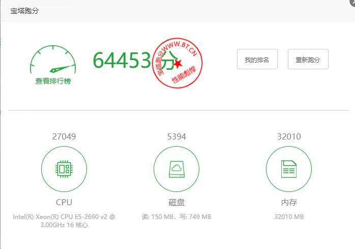 阿里云香港宝塔跑分64453分的高分